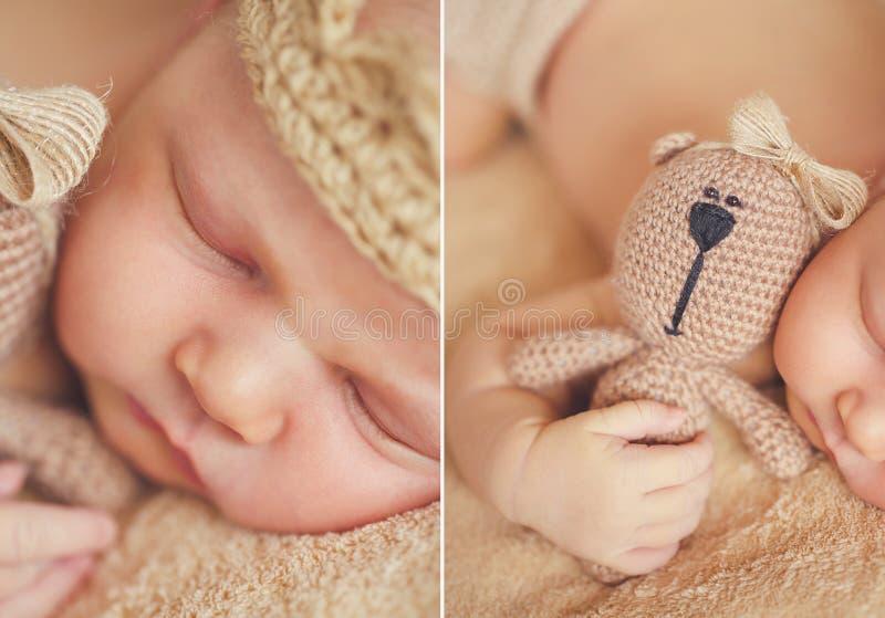 米黄背景的睡觉的婴孩 库存图片