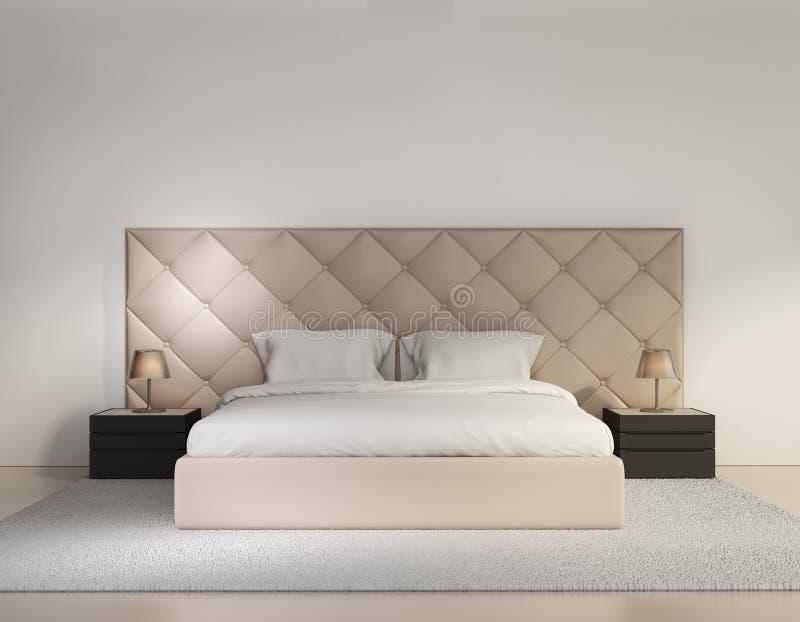 米黄豪华有地毯的被按的卧室 图库摄影