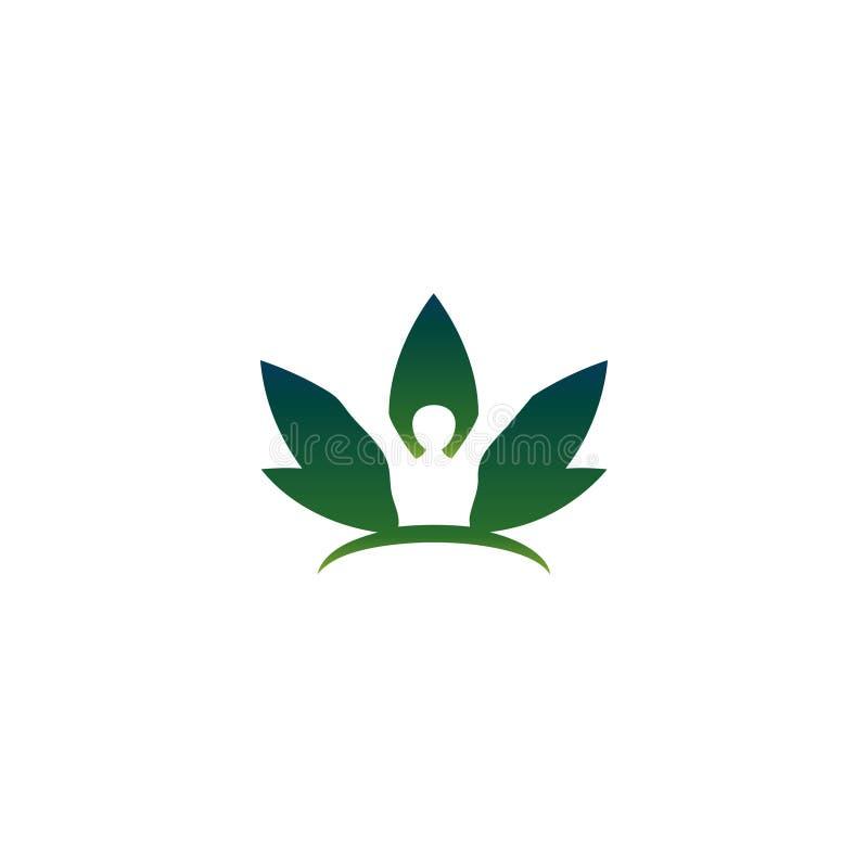 类人动物和叶子在圈子商标概念 库存例证