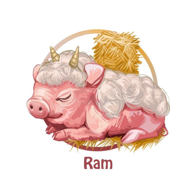 类似与垫铁和羊毛数字式艺术的Ram猪动物 放置在干草捆中的小猪睡觉和休息 黄道带 库存例证