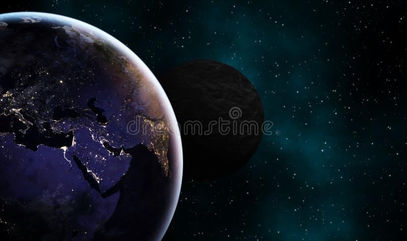 类似地球和另一黑暗的exoplanet构思设计背景 向量例证