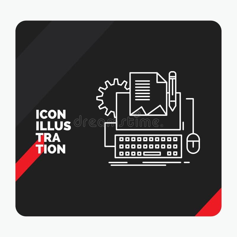 类型的作家,纸,计算机,纸,键盘线象红色和黑创造性的介绍背景 库存例证