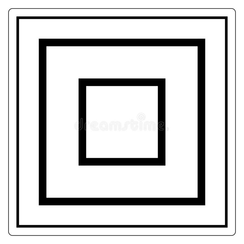 类II设备标志标志,传染媒介例证,在白色背景标签的孤立 EPS10 库存例证