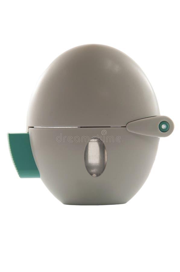 粉末在白色背景的哮喘吸入器 库存照片