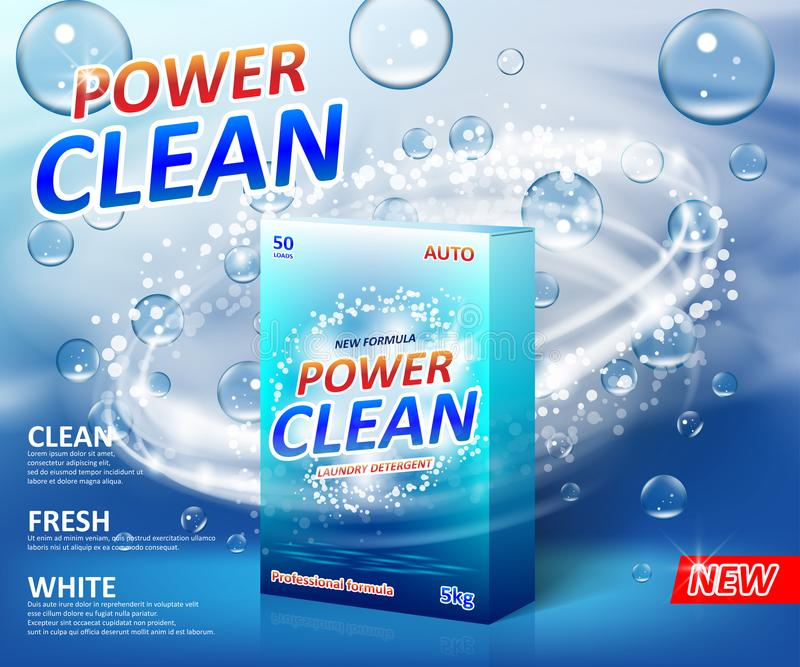 粉末洗涤剂广告海报 洗衣粉纸盒箱子包裹与肥皂泡的标签模板 污点 向量例证
