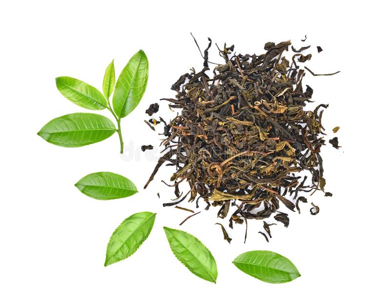 粉末绿茶和在丝毫隔绝的绿色茶叶顶视图  免版税库存照片