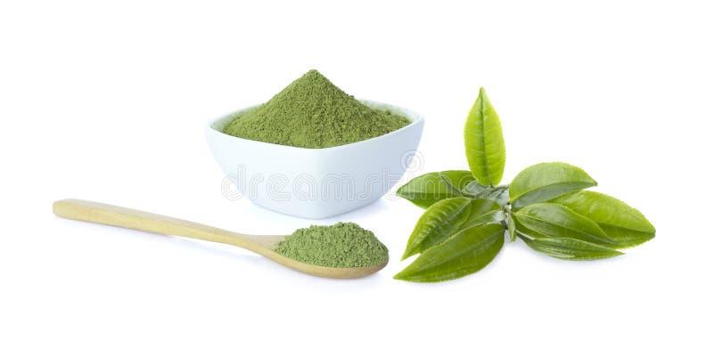 粉末绿茶和绿色茶叶 免版税图库摄影