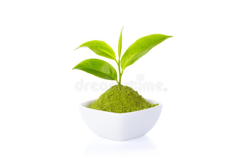粉末绿茶和绿色茶叶 库存照片
