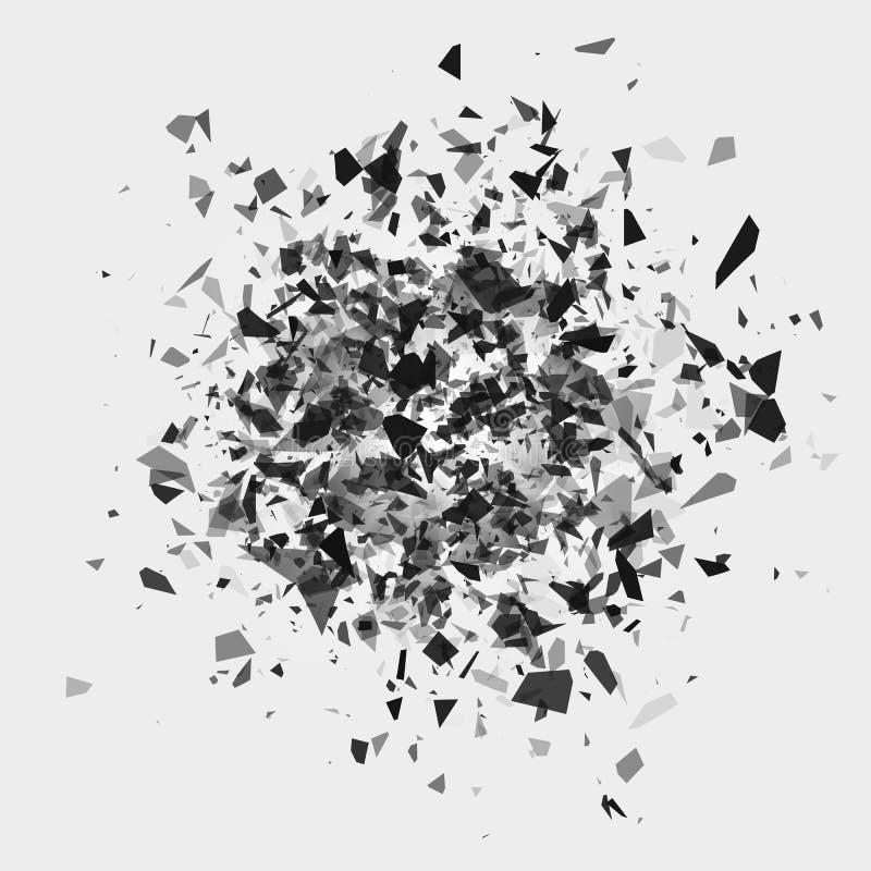粉碎和破坏作用 片断和片段抽象云彩在闪光以后 ?? 皇族释放例证