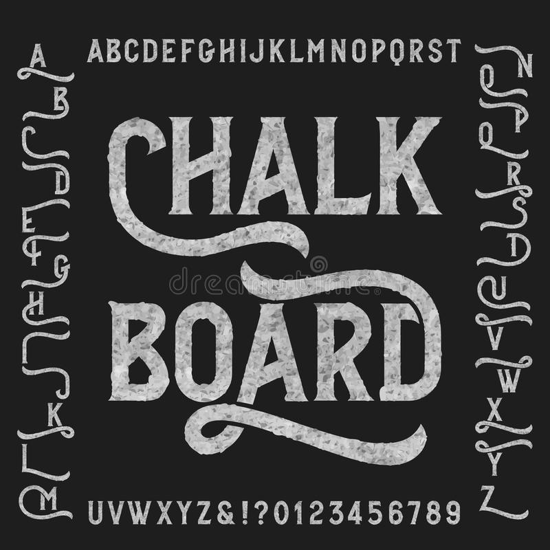 粉笔板与代替的字母表字体 皇族释放例证