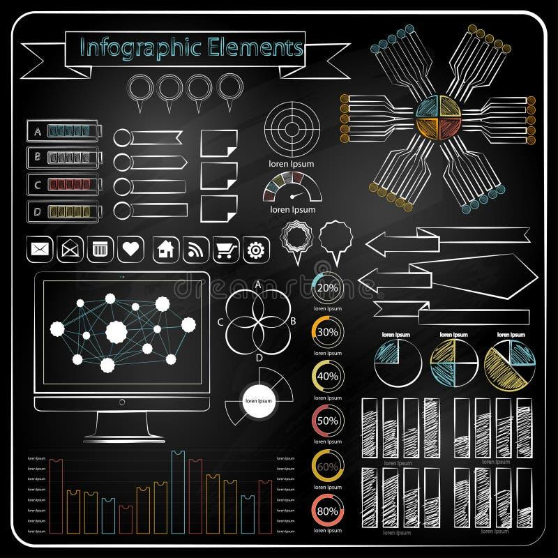 粉笔板乱画网绘制传染媒介图表 库存例证