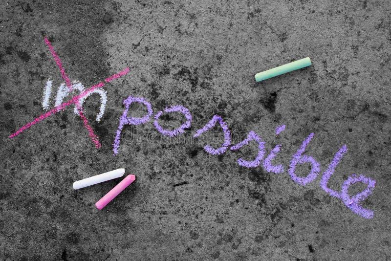 粉笔画:改变的词不可能对可能 图库摄影