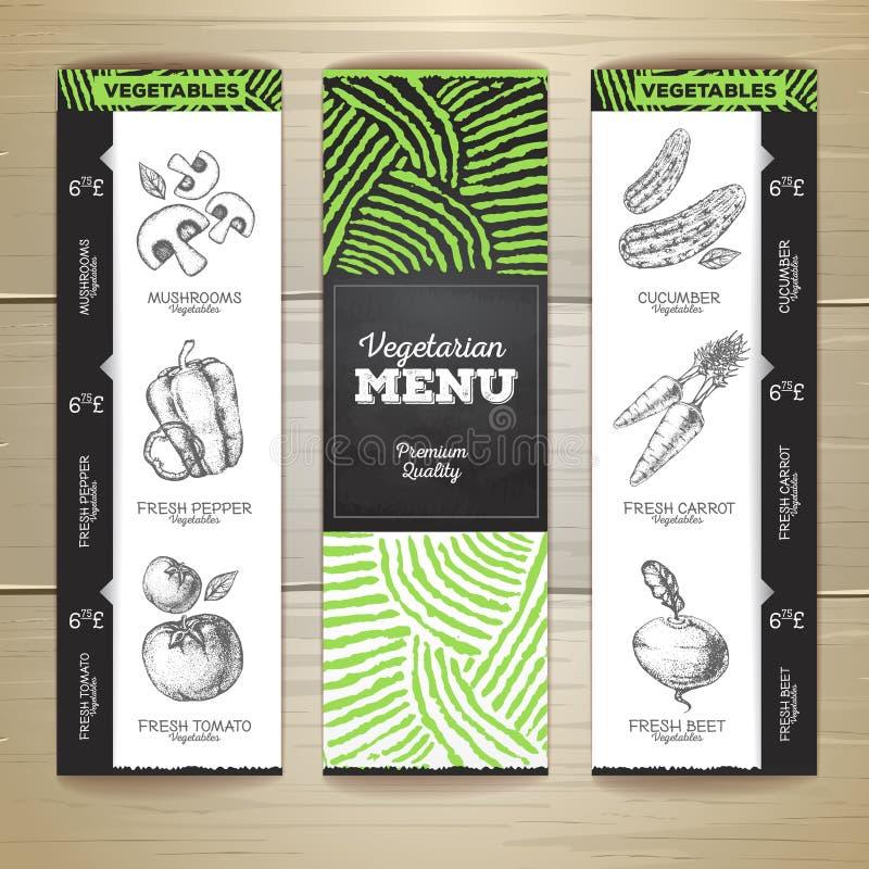 粉笔画素食食物菜单设计 库存例证