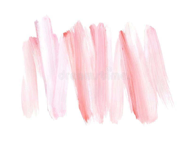 粉红彩笔在白色背景隔绝的刷子冲程 手画设计元素 柔和的水彩背景 向量例证