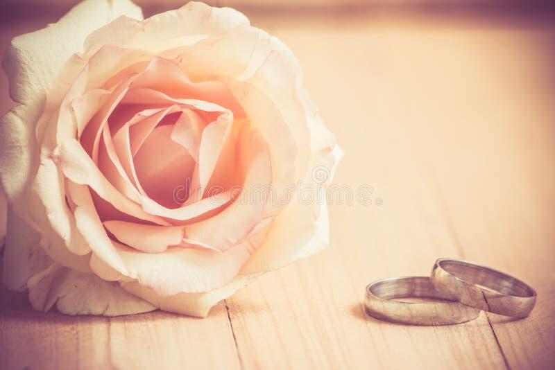 粉红彩笔罗斯ang允诺圆环,在华伦泰co的葡萄酒样式 免版税库存照片