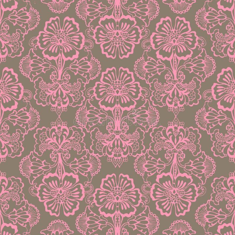 粉红色和布朗脏的葡萄酒花背景 向量例证