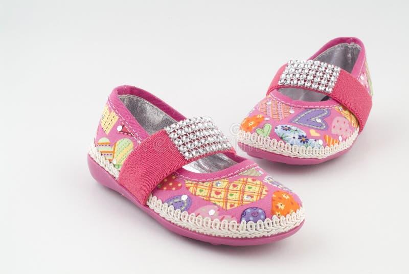 粉红色穿上鞋子二 库存照片