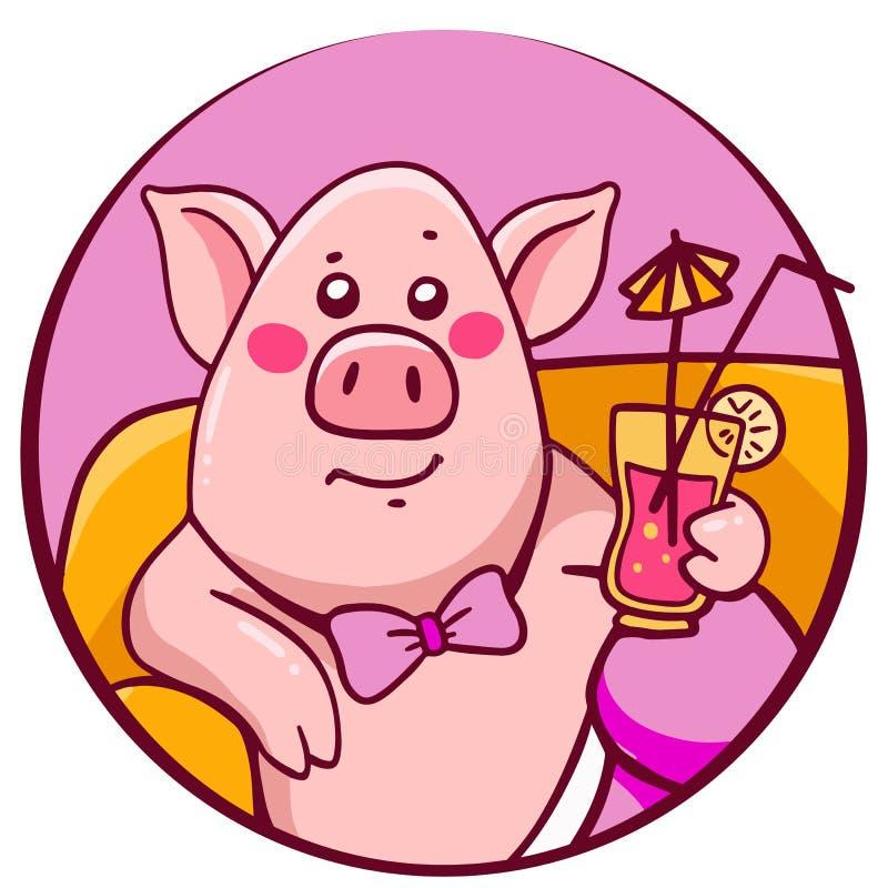 粉色得意洋洋的字符猪的传染媒介例证与 向量例证