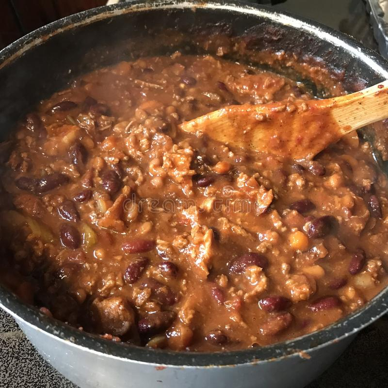 3粒豆辣椒用牛肉和猪肉 库存照片