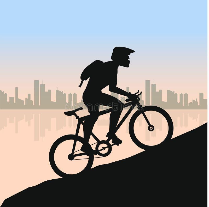 粗砺的路的骑自行车者反对城市风景 自行车赛跑去山 自行车骑士剪影 向量例证