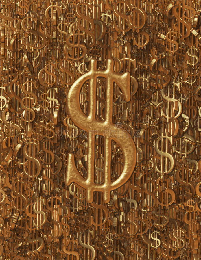 粗砺的金金属(USD)美元标志背景 库存图片