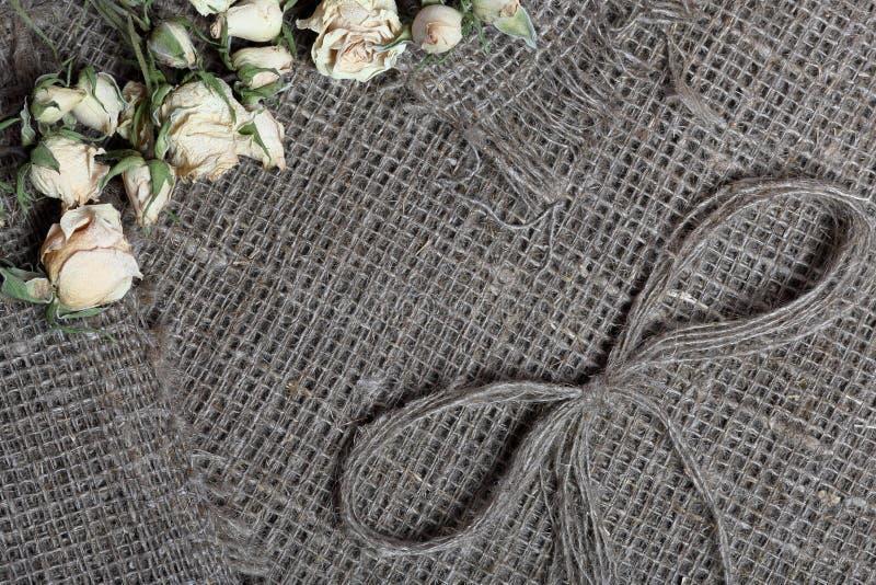 粗糙的亚麻制织品 对此是干米黄玫瑰和亚麻制螺纹弓  库存照片