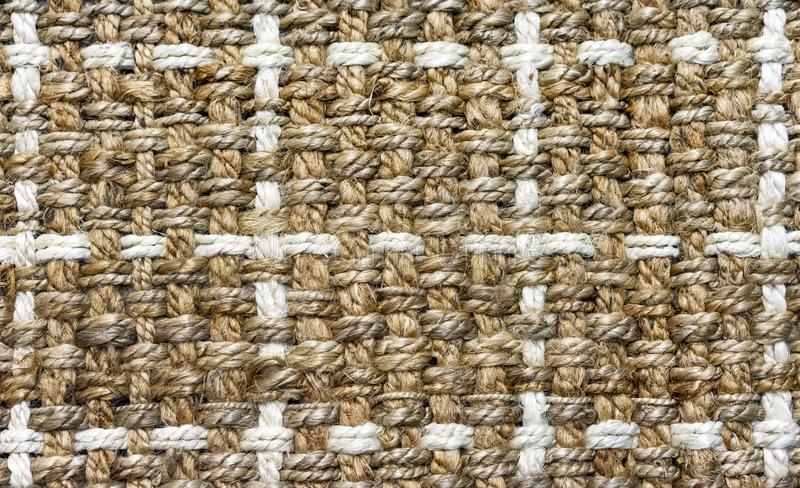 粗糙的纤维地毯的纹理  设计和装饰的背景 免版税库存图片