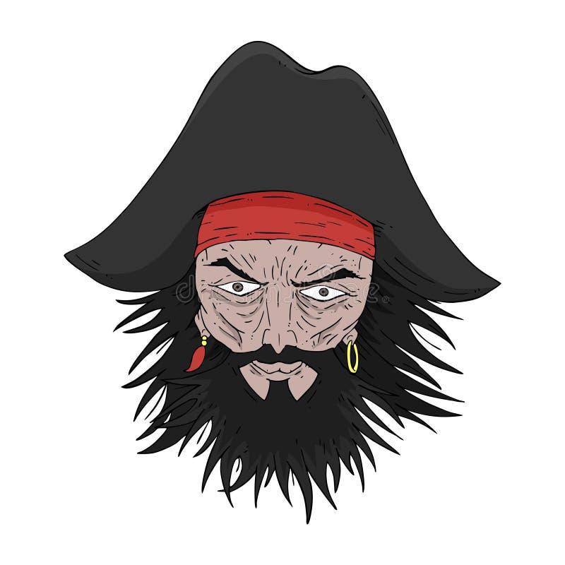 粗鲁的海盗面孔 向量例证