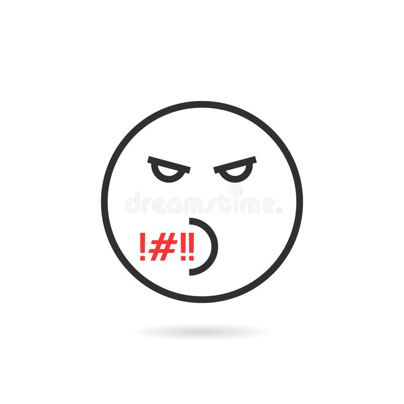 粗鲁的稀薄的线与阴影的emoji象 皇族释放例证