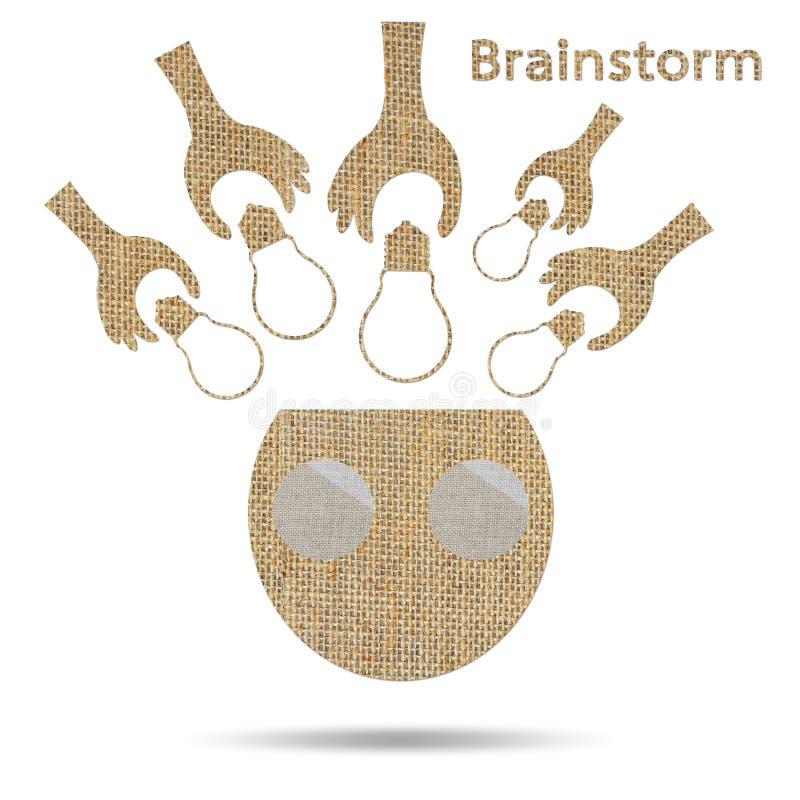 粗麻布创造性的电灯泡想法概念性激发灵感 向量例证