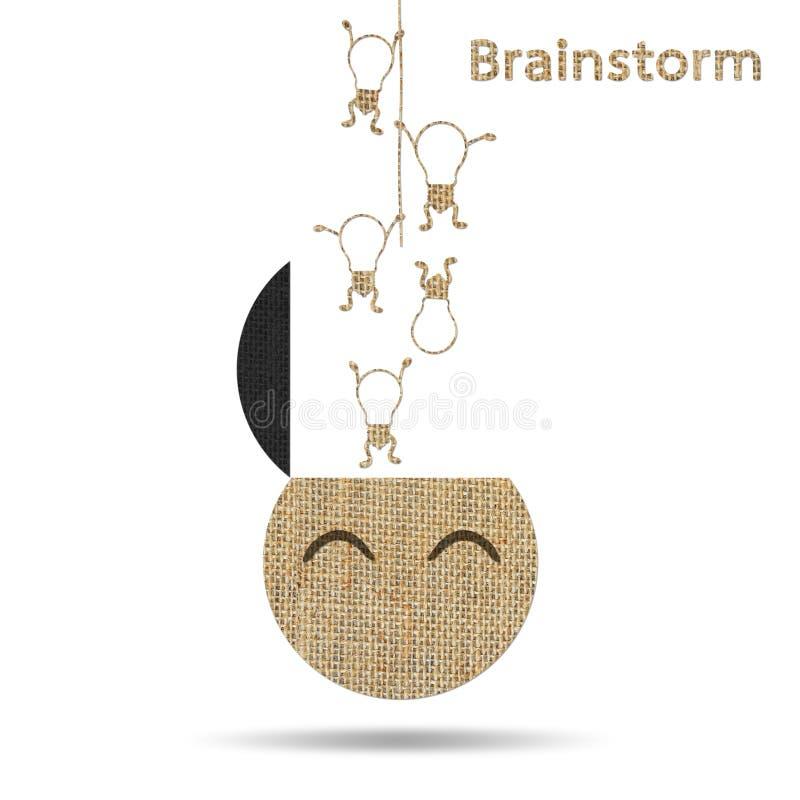 粗麻布创造性的电灯泡想法概念性激发灵感 库存例证