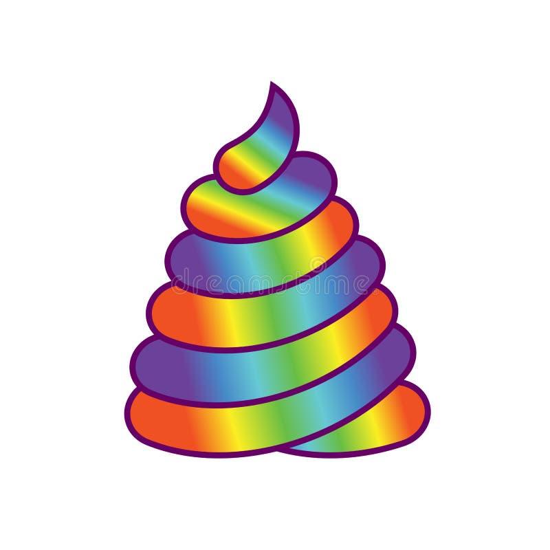 粪独角兽 大粪魔术动物 巨大的不可思议的船尾彩虹 向量例证