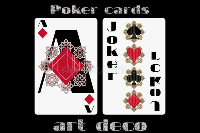 精于算计的啤牌 一点金刚石 说笑话者 在艺术装饰样式的啤牌卡片 向量例证