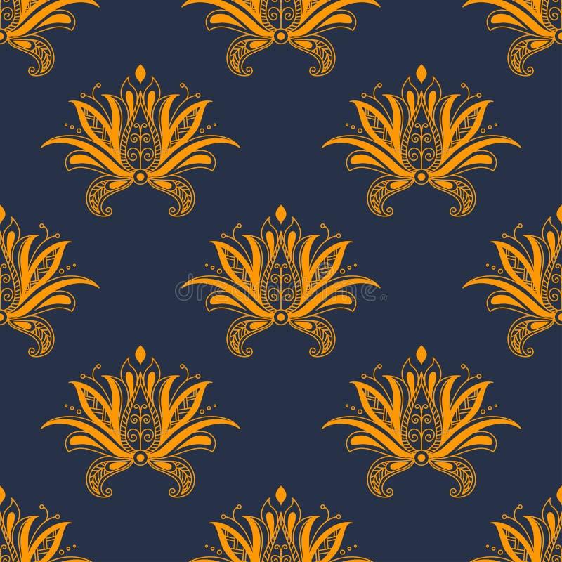 精制的佩兹利波斯花卉无缝的样式 皇族释放例证