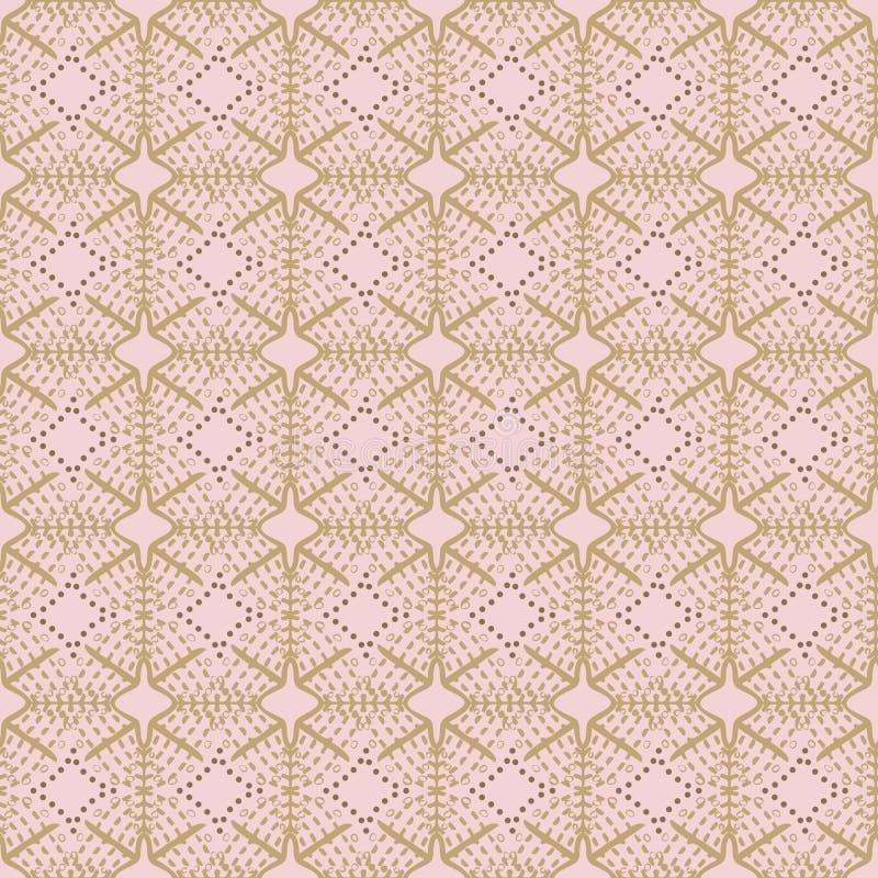精制的有花边的形状、条纹和小点的抽象无缝的样式例证在几何边界布局 向量例证