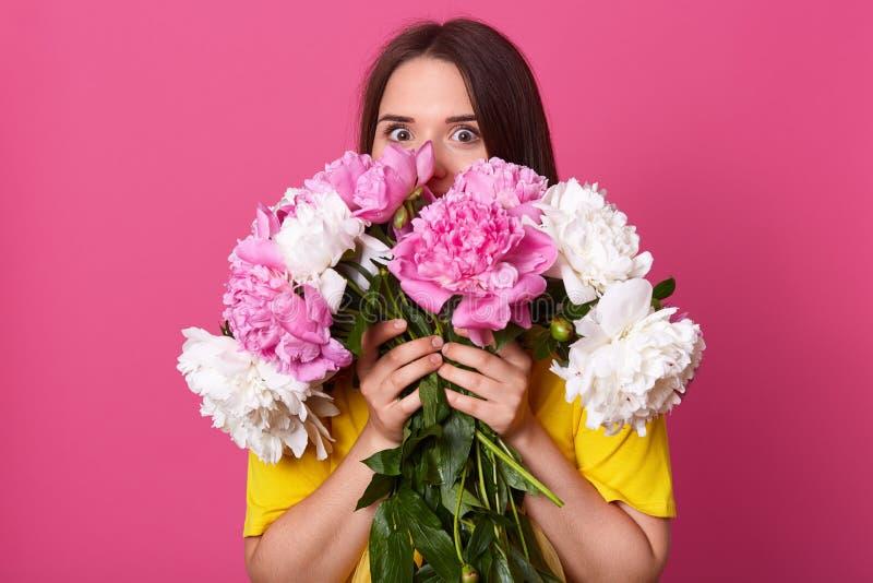 精力充沛的可爱的夫人画象有黑发身分的被隔绝在桃红色背景,按接近身体的花, 免版税图库摄影