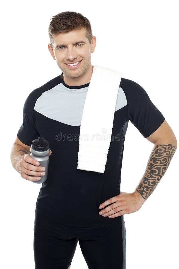 精力充沛的适应人藏品水瓶 免版税库存图片