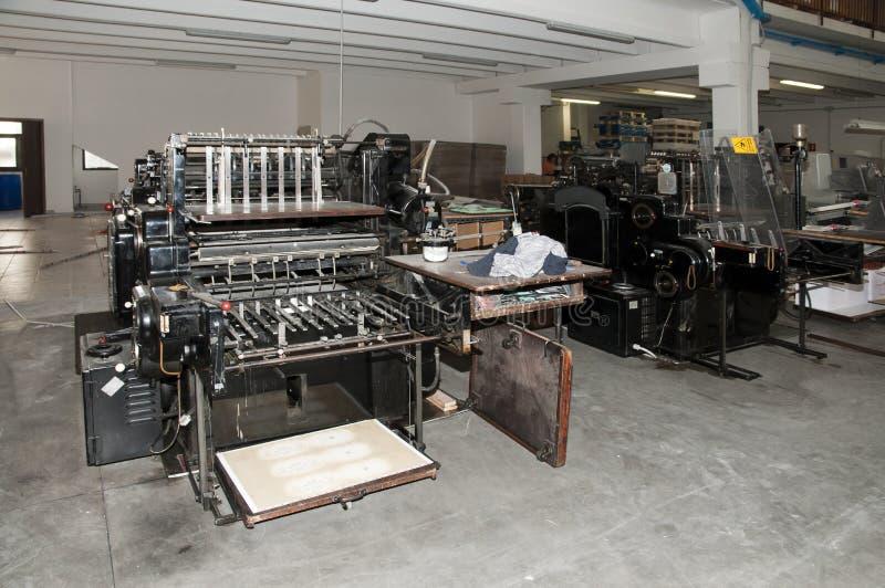 精加工机床老打印 免版税库存照片