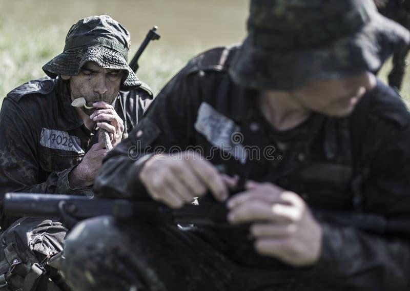 精华挑战军事traning的节目 免版税库存照片
