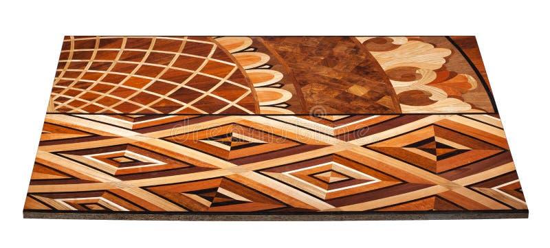 精华模件木条地板 与豪华纹理和样式的自然木地板 在被隔绝的白色背景的等轴测图 免版税库存照片