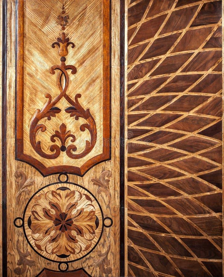 精华模件木条地板 与豪华纹理和样式的自然木地板 顶视图 库存照片