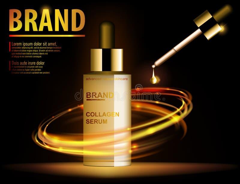 精华透亮包含,广告,金子构成玻璃瓶模板 设计做广告的化妆用品产品与 皇族释放例证