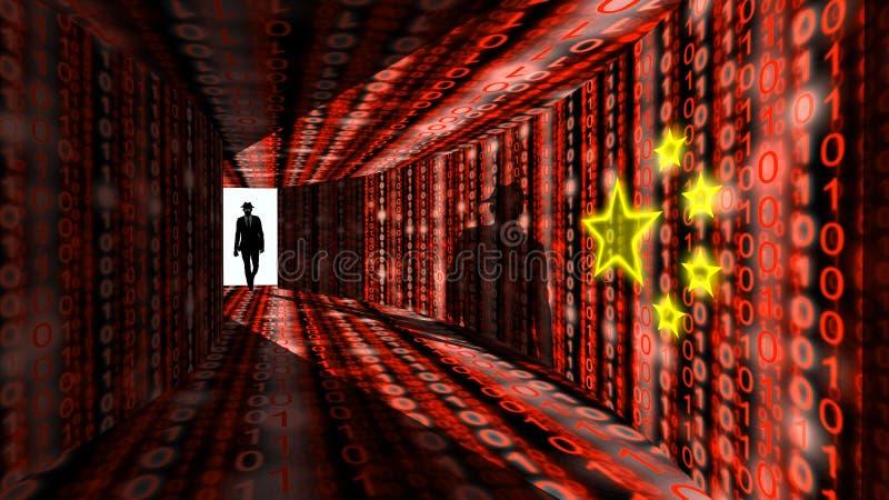 精华黑客进入有数字式红色脊椎的信息走廊 皇族释放例证
