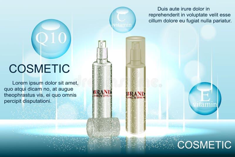 精妙的化妆广告模板、空白的大模型有闪耀的bokeh背景和使目炫作用,浪花瓶, tu 库存例证
