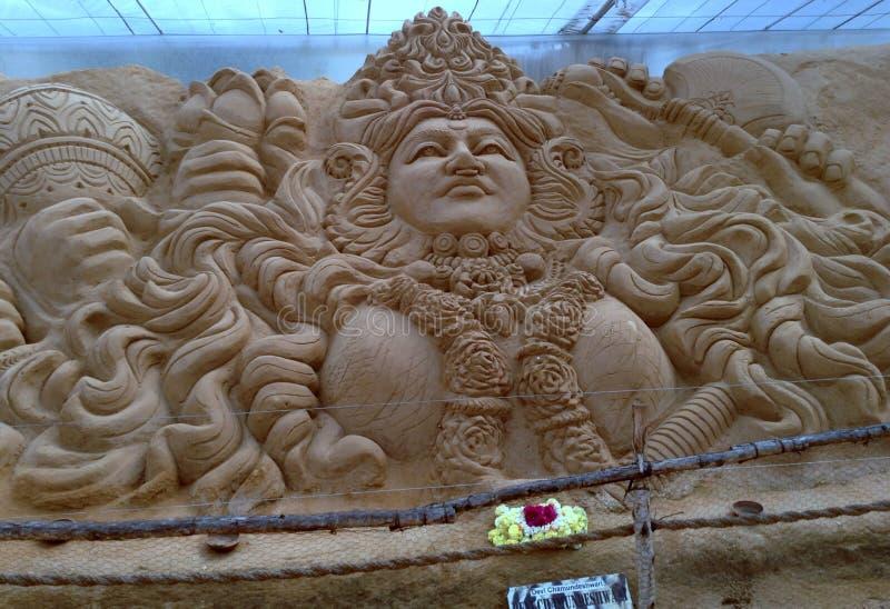 精妙的沙子艺术女神雕塑 免版税库存图片