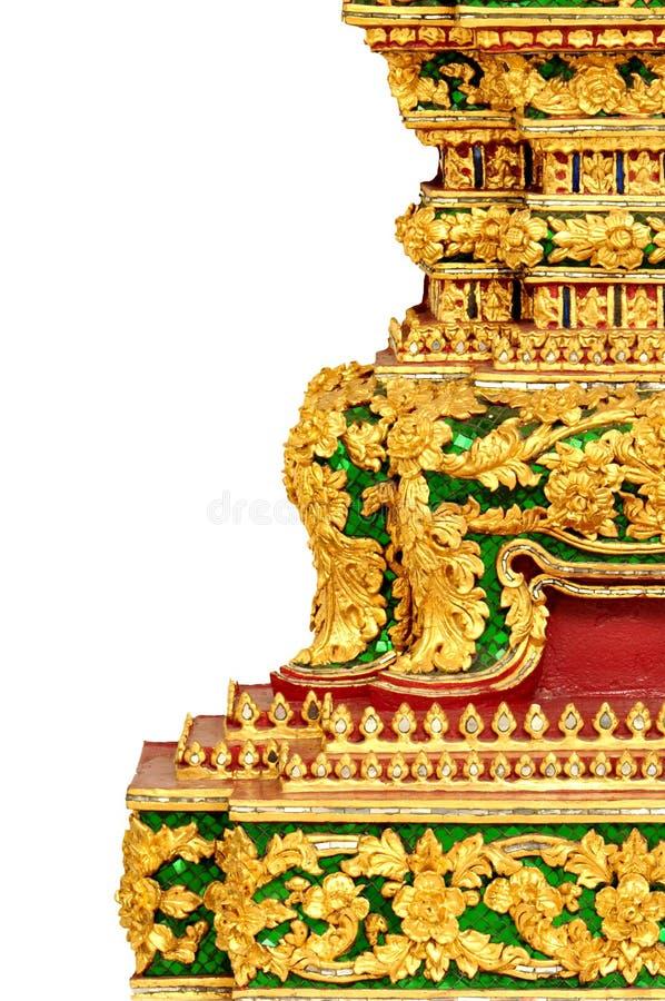 精妙的泰国传统建筑学-孤立 免版税库存照片