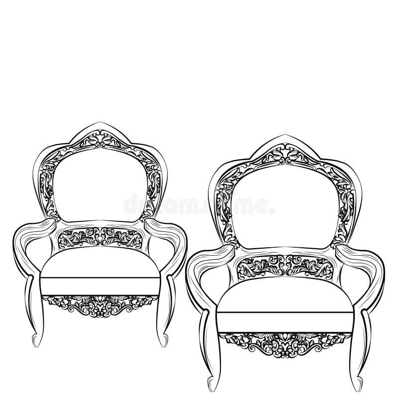 精妙的美妙的皇家巴洛克式的椅子 向量例证