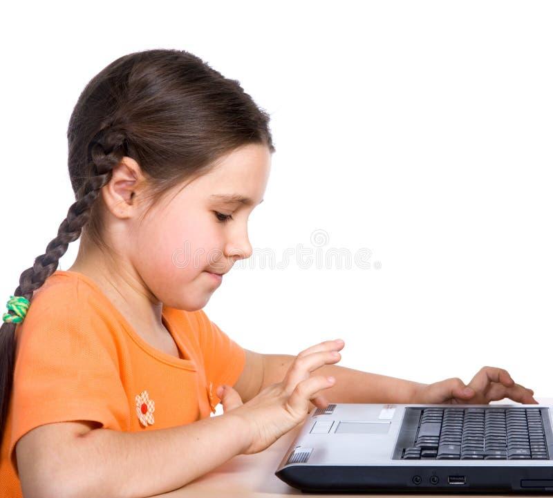 精密孩子的膝上型计算机 图库摄影