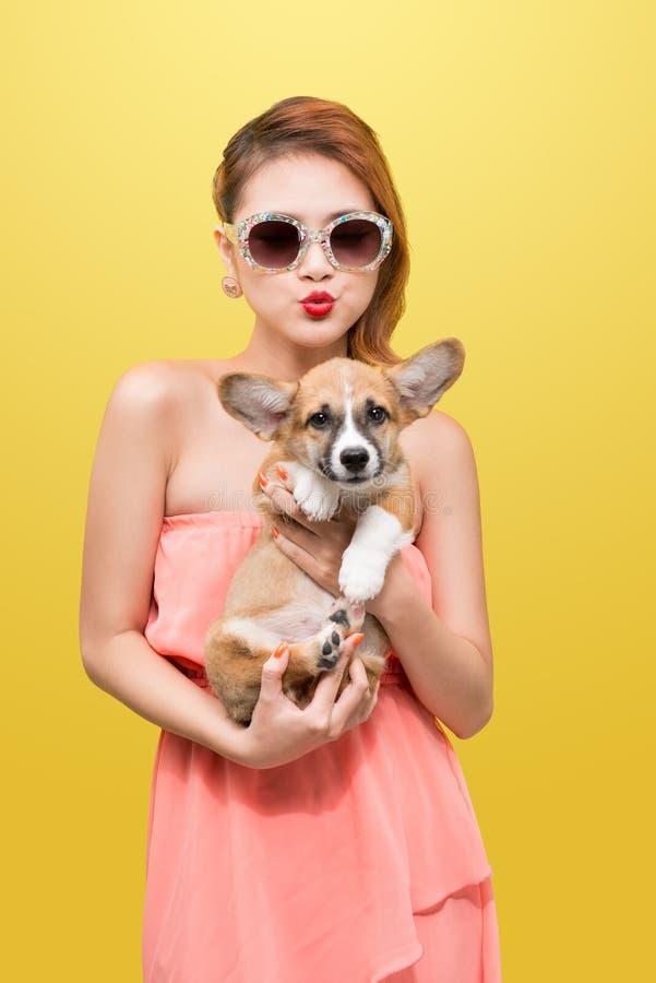 精密春天礼服的美丽的年轻亚裔妇女,摆在有小狗小狗的演播室 库存照片