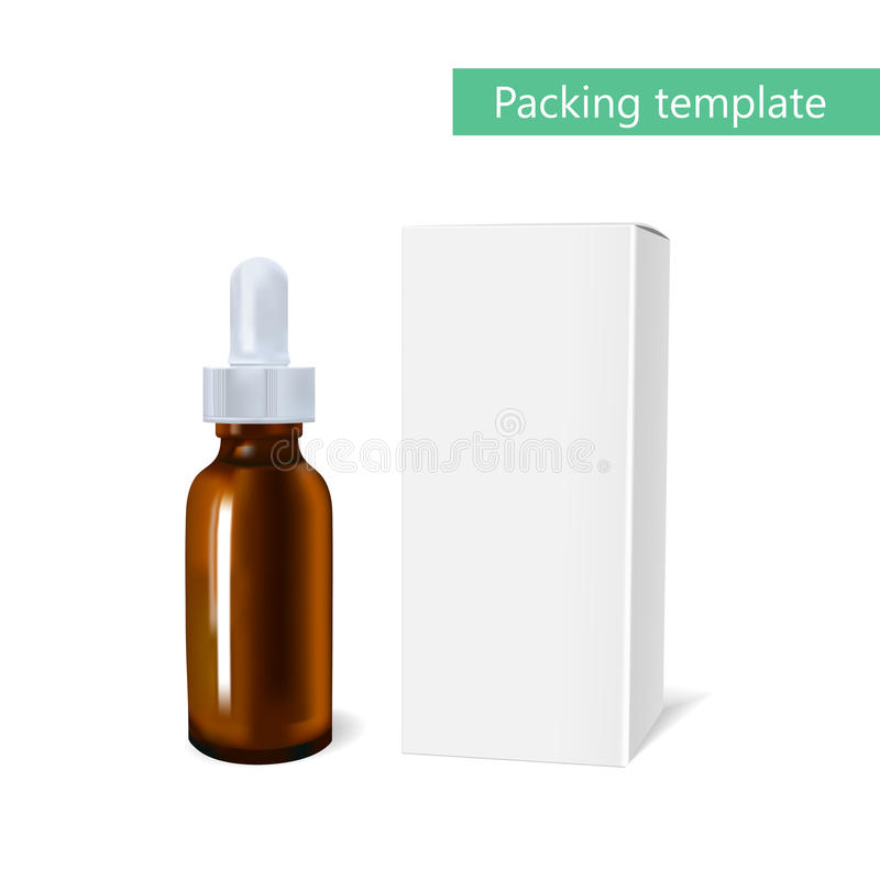 精油包裹大模型 与吸移管瓶的化妆用品 广告设计化妆用品和医学想法  皇族释放例证